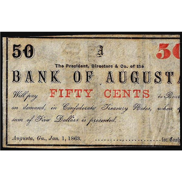 1863 Bank of Augusta Fifty Cents Obsolete Bank Note