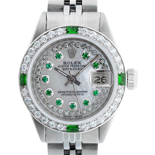 Rolex Ladies Stainless Steel Mother of Pearl Emerald & Diamond Datejust Wristwatch