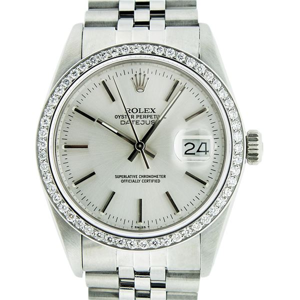 Rolex Men's Stainless Steel Silver Index Datejust Oyster Perpetual Wristwatch