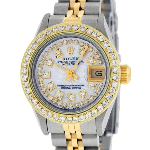 Rolex Ladies Two Tone MOP Diamond Oyster Perpetual Datejust Wristwatch