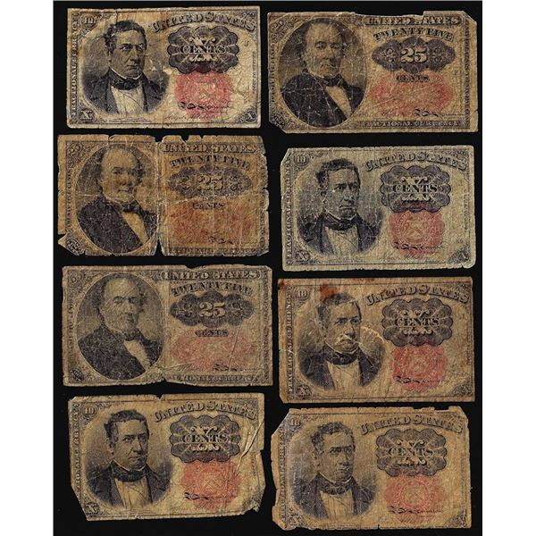 Lot of (8) Miscellaneous Fifth Issue Fractional Currency Notes