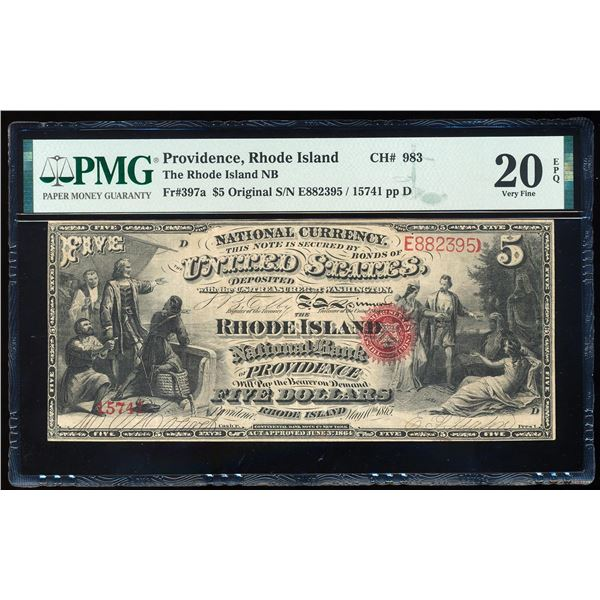 Original 1865 $5 Rhode Island Providence, RI CH# 983 National Note PMG VF 20EPQ