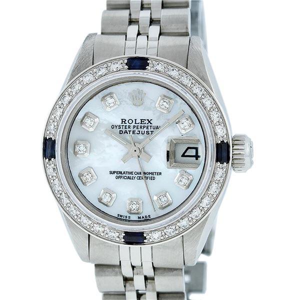 Rolex Ladies Stainless Steel MOP Diamond & Sapphire Datejust Wristwatch