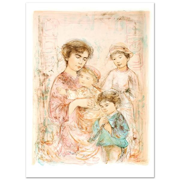 """Edna Hibel (1917-2014) """"Lotte and Her Children"""" Limited Edition Lithograph"""