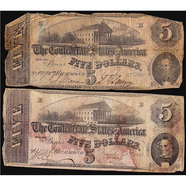 Lot of (2) 1862 $5 Confederate States of America Notes