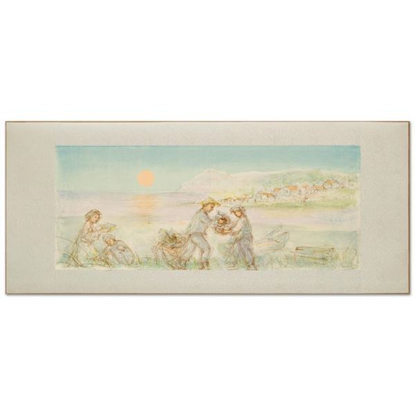"""Edna Hibel (1917-2014) """"Sunset"""" Limited Edition Lithograph"""