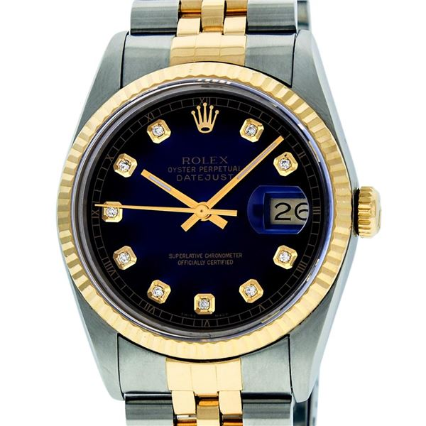 Rolex Mens Two Tone Blue Vignette Diamond Oyster Perpetual Datejust Wriswatch