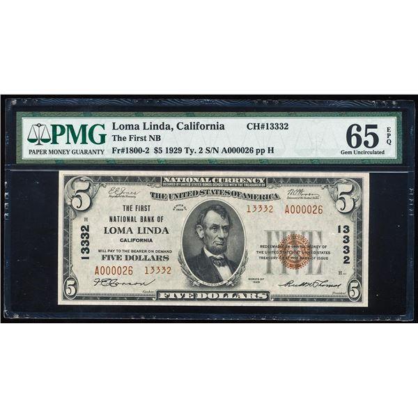 1929 $5 Loma Linda, CA CH# 13332 National Bank Note PMG Gem Uncirculated 65EPQ