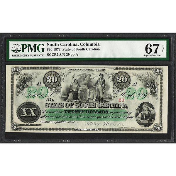 1872 $20 State of South Carolina Revenue Bond Obsolete Note PMG Superb Gem Unc. 67EPQ
