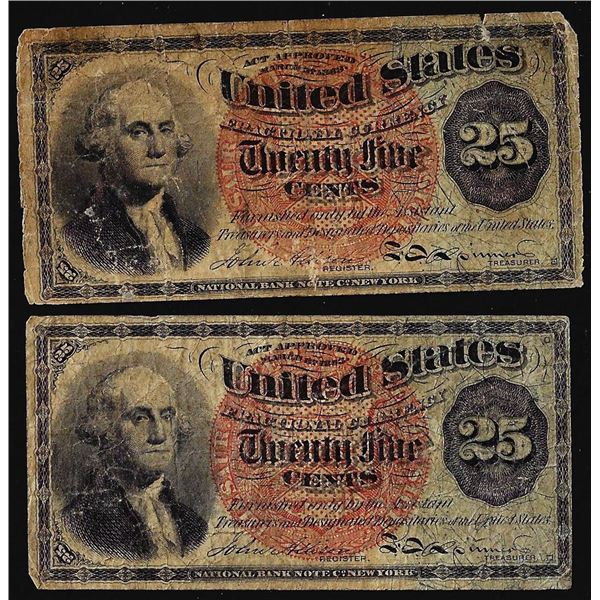 Lot of (2) 1863 4th Issue Twenty Five Cents Fractional Currency Notes