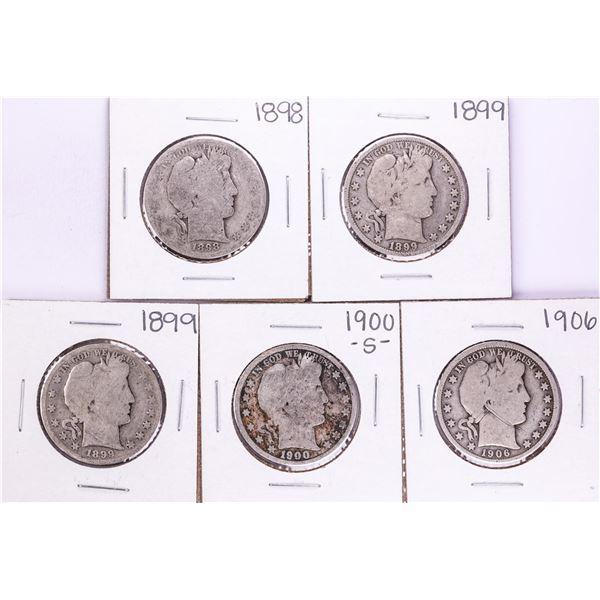 Lot of (5) Barber Half Dollar Coins