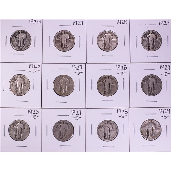 Lot of (12) 1926-1929 Standing Liberty Quarter Coins