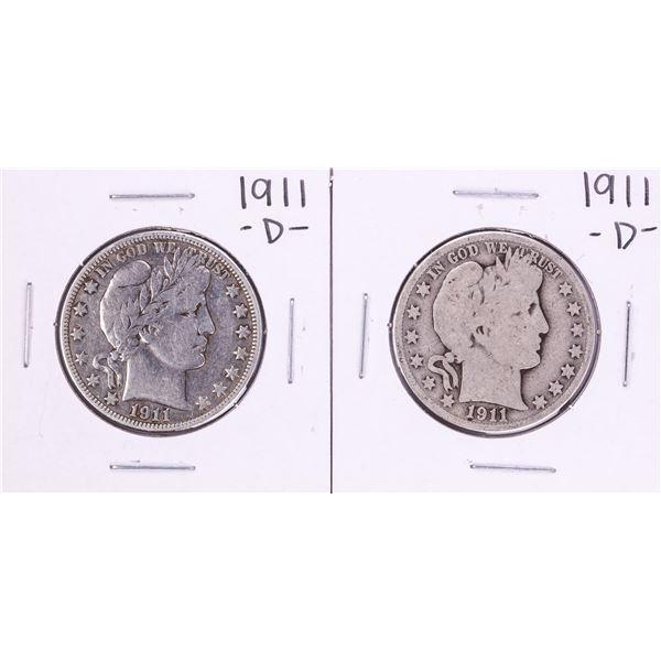 Lot of (2) 1911-D Barber Half Dollar Coins