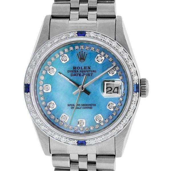 Rolex Men's Stainless Steel Blue String Diamond & Sapphire Datejust Wristwatch