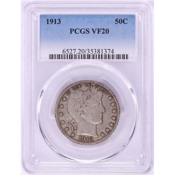 1913 Barber Half Dollar Coin PCGS VF20