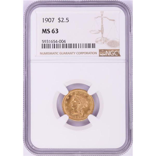 1907 $2 1/2 Liberty Head Quarter Eagle Gold Coin NGC MS63