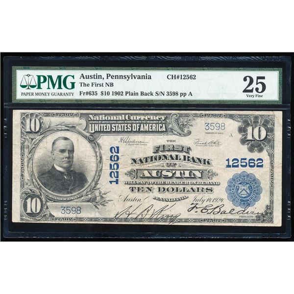 1902PB $10 First NB of Austin, PA CH# 12562 National Bank Note PMG Very Fine 25