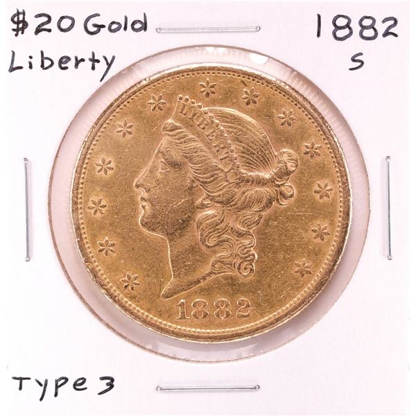 1882-S $20 Type 3 Liberty Head Double Eagle Gold Coin
