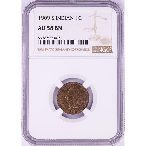 1909-S Indian Head Cent Coin NGC AU58 BN