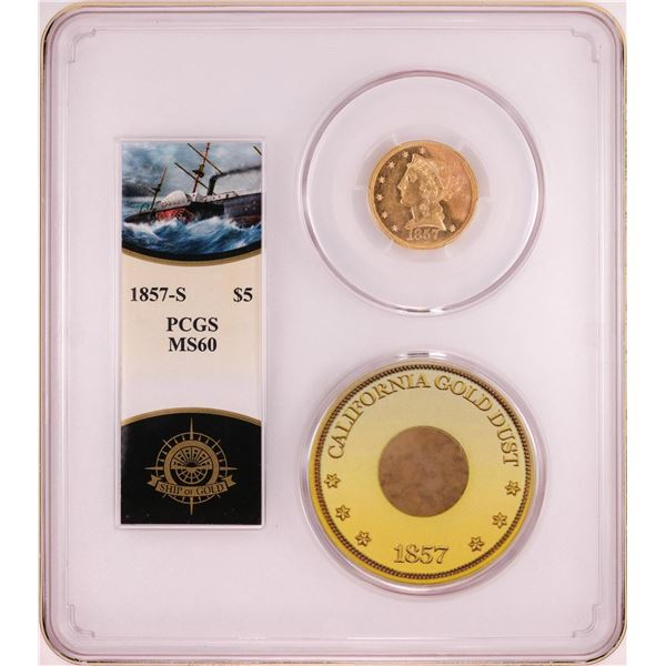 S.S. Central America Shipwreck 1857-S $5 Liberty Head Half Eagle Gold Coin PCGS MS60