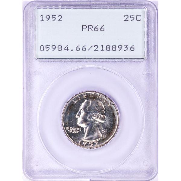 1952 Proof Washington Quarter Coin PCGS PR66 Green Rattler Holder
