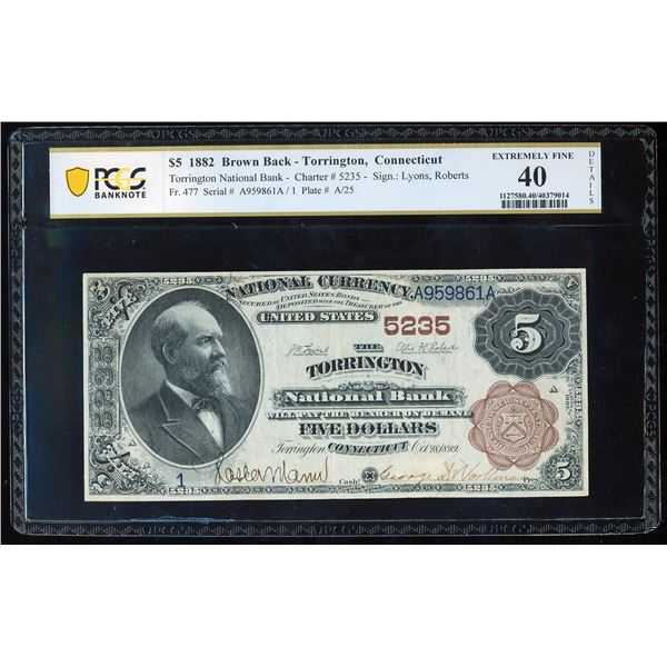 1882BB $5 Torrington, CT CH# 5235 National Bank Note PCGS Extremely Fine 40