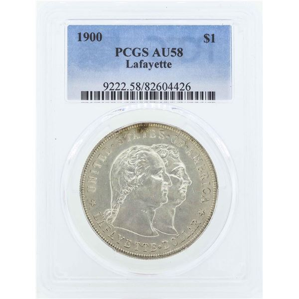 1900 $1 Lafayette Commemorative Silver Dollar Coin PCGS AU58