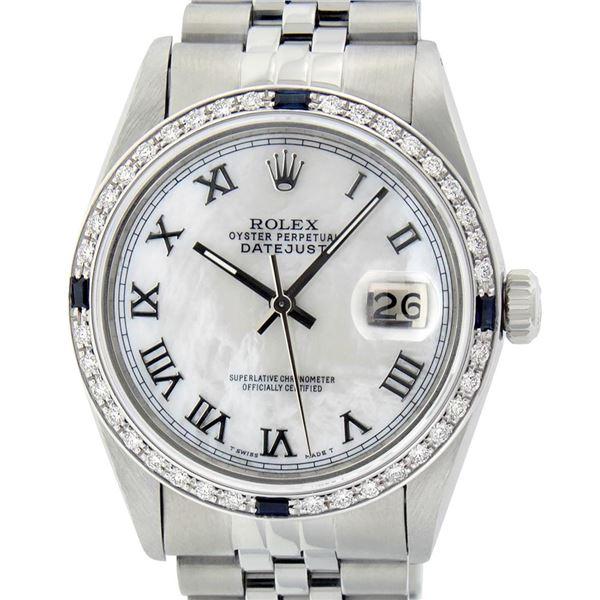 Rolex Men's Stainless Steel MOP Roman 36MM Diamond & Sapphire Datejust Wristwatch