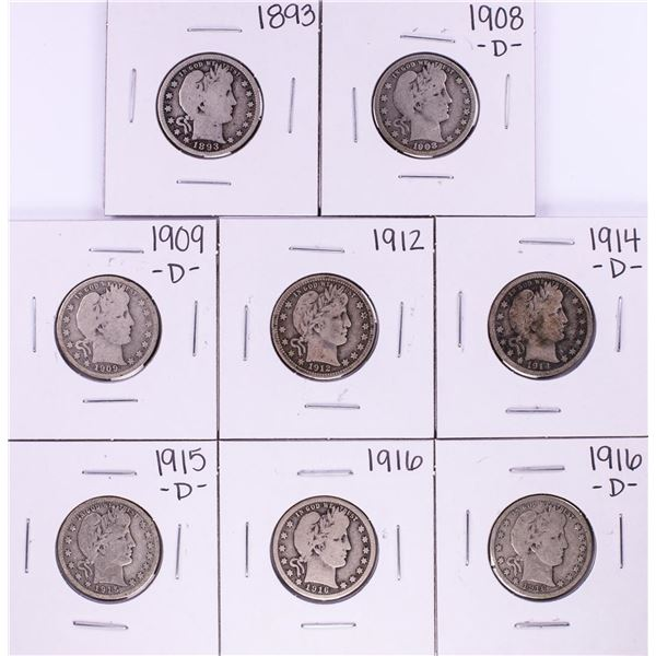 Lot of (8) Miscellaneous Date Barber Quarter Coins