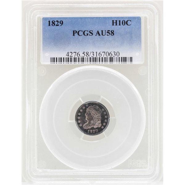 1829 Capped Bust Half Dime Coin PCGS AU58