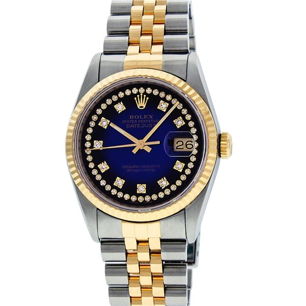 Rolex Men's Two Tone Blue Vignette VS Diamond Oyster Perpetual Datejust Wristwatch