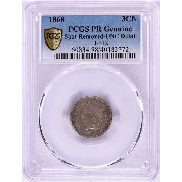 1868 Pattern Proof Three Cent Nickel Coin PCGS PR Genuine Detail