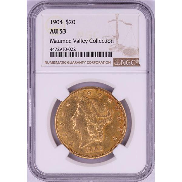 1904 $20 Liberty Head Double Eagle Gold Coin NGC AU53
