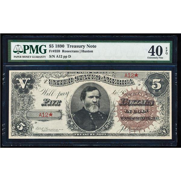1890 $5 Treasury Note Fr.359 PMG Extremely Fine 40EPQ