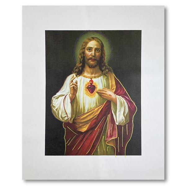 "Steve Kaufman (1960-2010) ""Jesus Peace State One"" Original Mixed Media on Canvas"