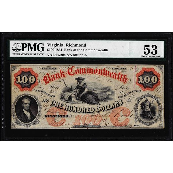 1861 $100 Bank of the Commonwealth Richmond, VA Obsolete Note PMG About Uncirculated 53