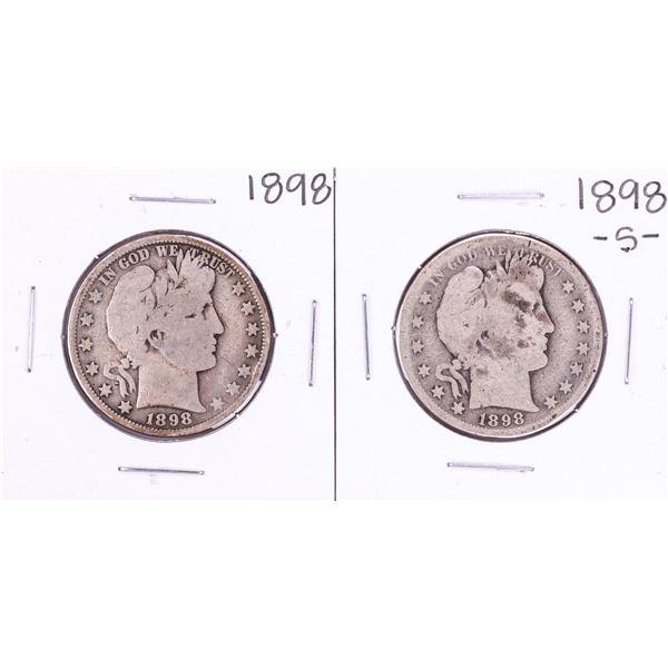 Lot of 1898 & 1898-S Barber Half Dollar Coins