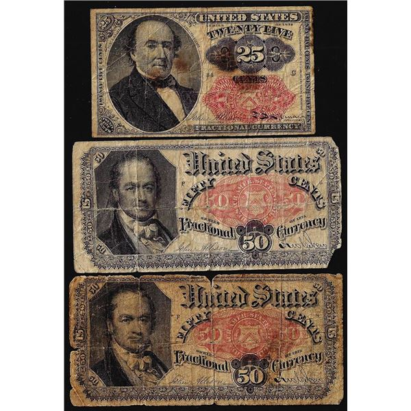 Lot of (3) Miscellaneous Fifth Issue Fractional Currency Notes