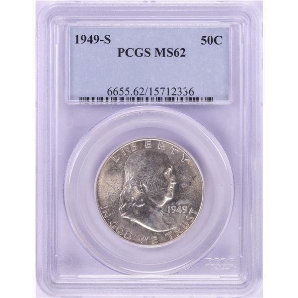 1949-S Franklin Half Dollar Coin PCGS MS62