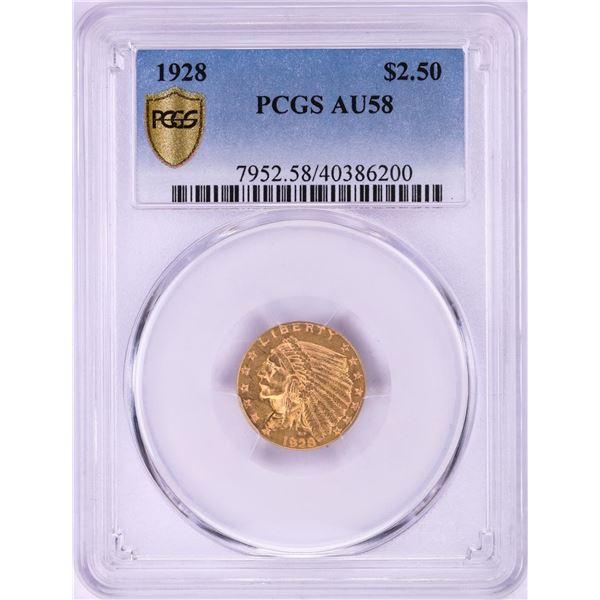 1928 $2 1/2 Indian Head Quarter Eagle Gold Coin PCGS AU58