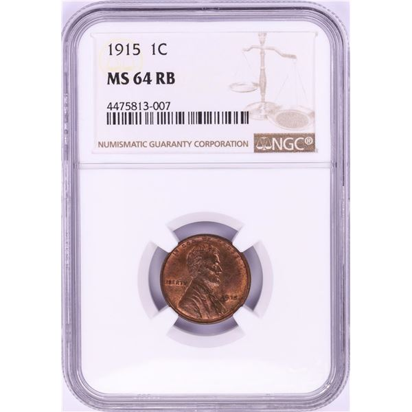 1915 Lincoln Wheat Cent Coin NGC MS64RB