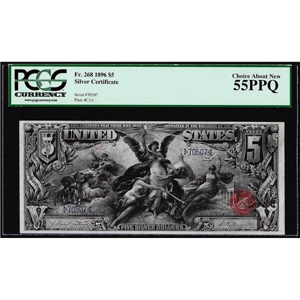 1896 $5 Educational Silver Certificate Note Fr.268 PCGS Choice About New 55PPQ