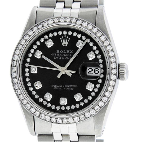 Rolex Mens Stainless Steel Diamond Oyster Perpetaul Datejust Wristwatch
