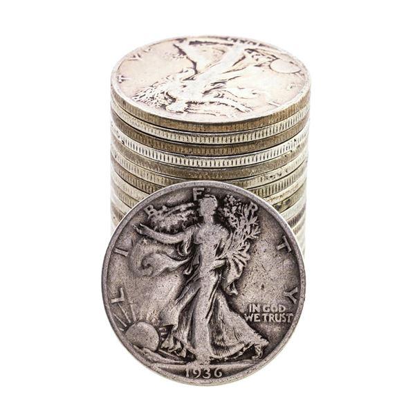 Lot of (20) 1930's Walking Liberty Half Dollar Coins