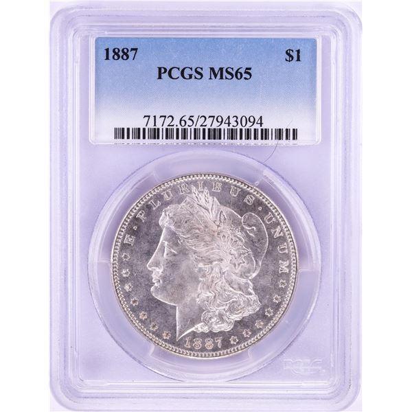 1887 $1 Morgan Silver Dollar Coin PCGS MS65