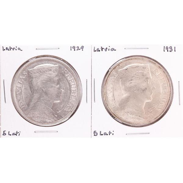 Lot of 1929 & 1931 Latvia 5 Lati Silver Coins