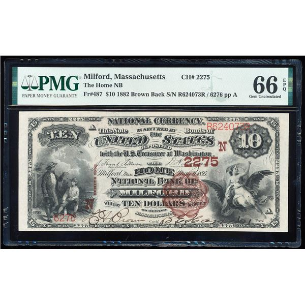 1882BB $10 Milford, MA CH# 2275 National Bank Note PMG Gem Uncirculated 66EPQ