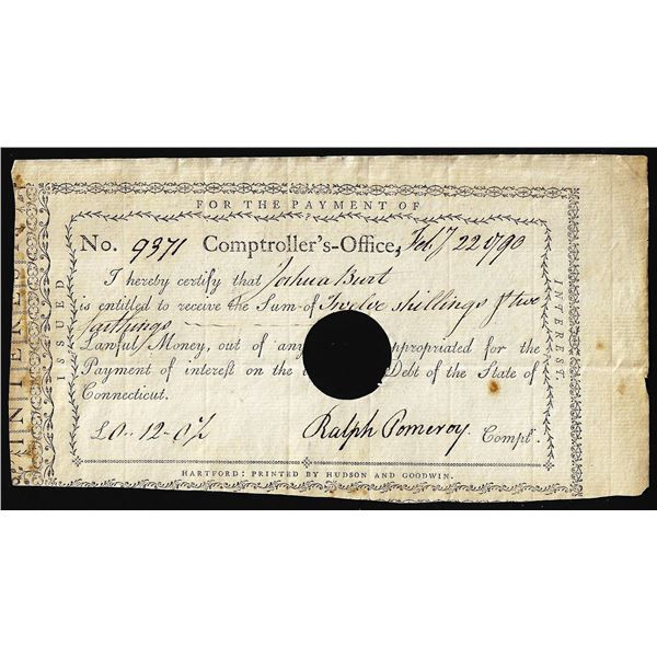 February 22, 1790 State of Connecticut Interest Certificate Colonial Note