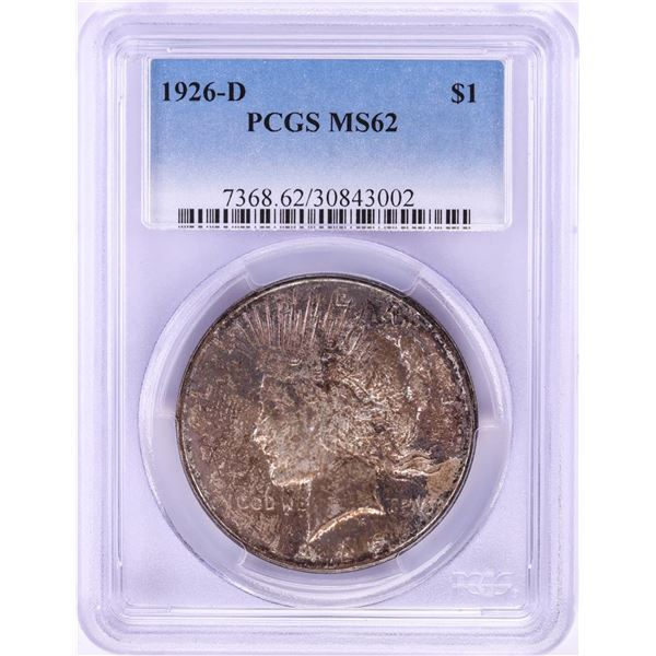 1926-D $1 Peace Silver Dollar Coin PCGS MS62