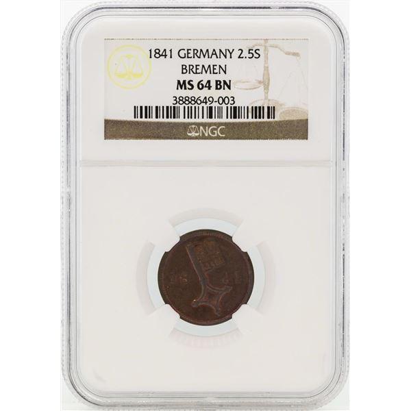 1841 Germany 2 1/2 Schwaren Coin NGC MS64BN